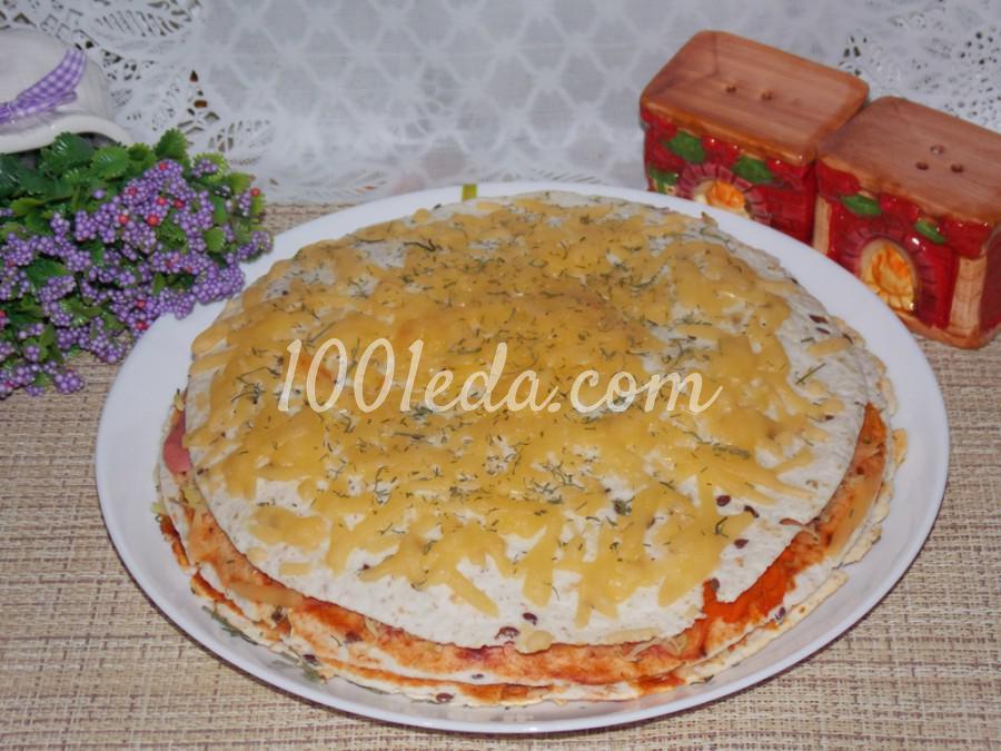 """Пирог """"По мотивам пиццы"""": пошаговое фото"""