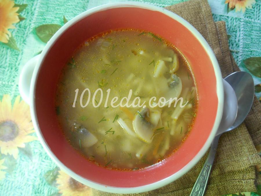 Грибной суп из шампиньонов с вермишелью
