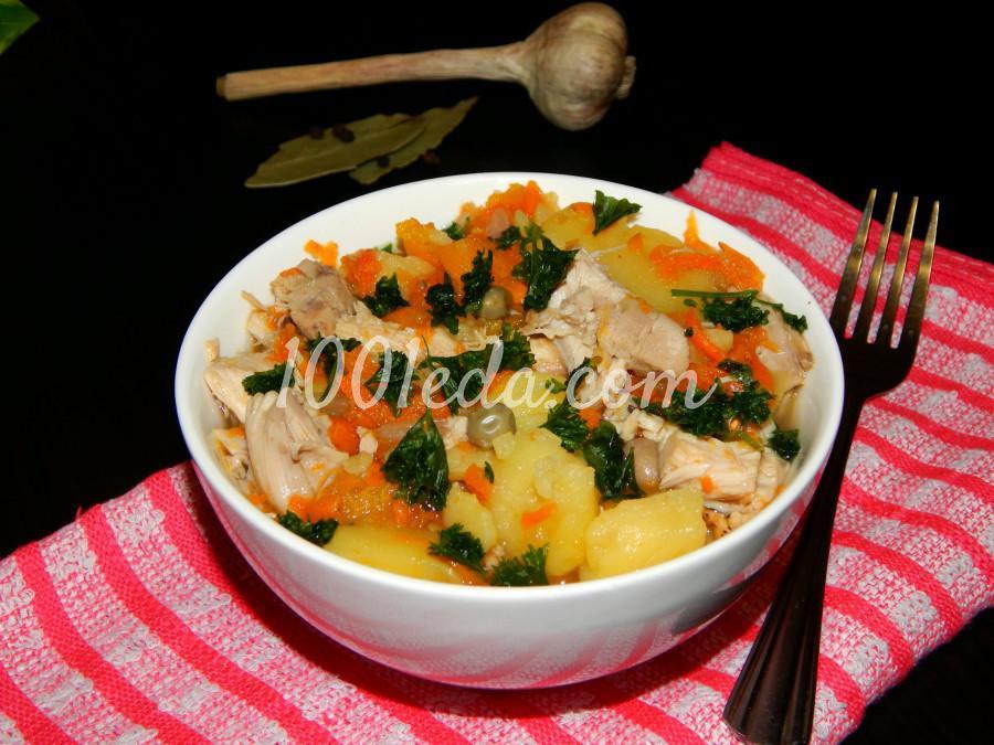 Тушеные овощи с курицей