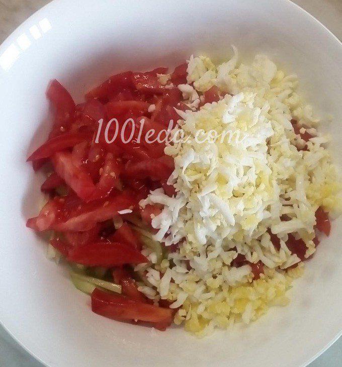 Рисовый салат с помидорами, огурцами и копченой колбасой: пошаговый с фото - Шаг №6