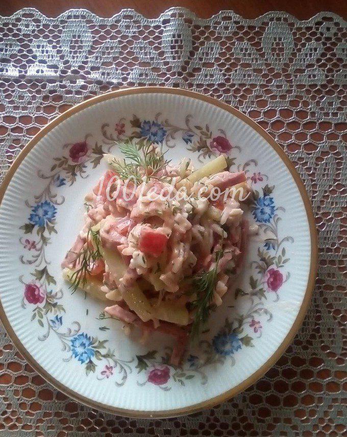 Рисовый салат с помидорами, огурцами и копченой колбасой: пошаговый с фото - Шаг №8