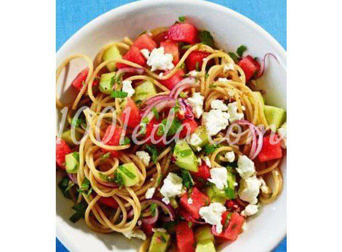 Салат из спагетти и свежих овощей