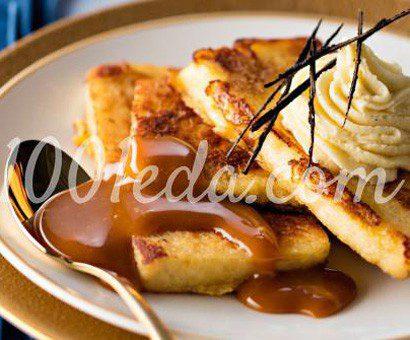 Тосты с ганашем из белого шоколада и карамельным соусом от Пьера Оже