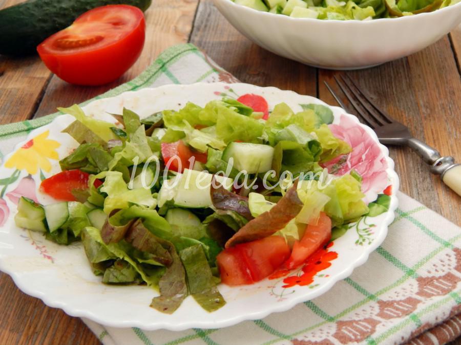 Летний легкий овощной салат с зеленью: пошаговый с фото