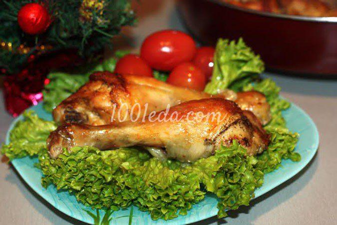 Ароматные куриные голени в белом вине