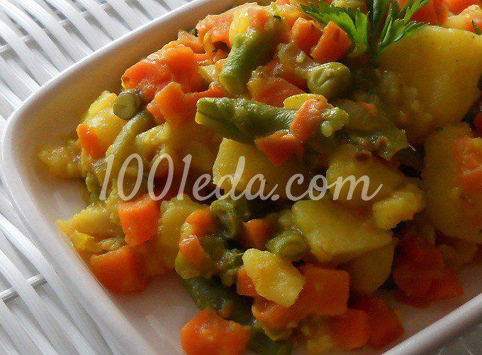 Постное картофельное рагу с овощами в пряном соусе