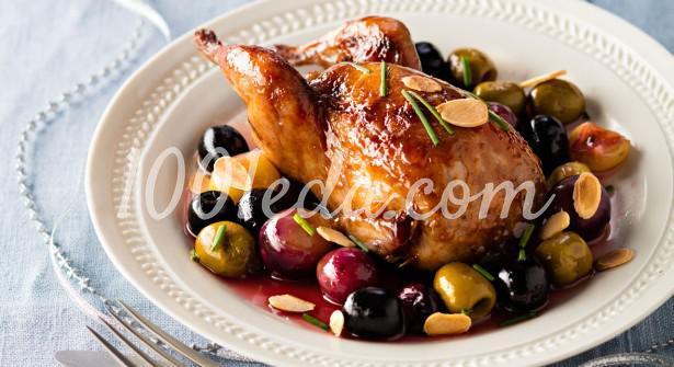 Перепелка с оливками, виноградом и лимоном в карамели
