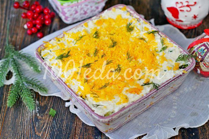 Слоеный салат с курицей и черносливом: пошаговый с фото