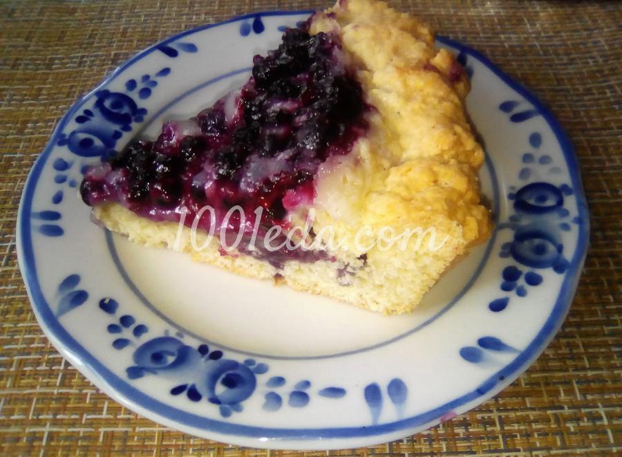 Вкусный пирог с черникой и сметанной заливкой: пошаговый с фото
