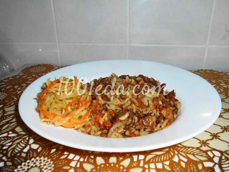Постная рисовая каша с чечевицей