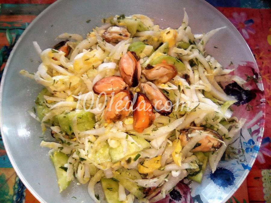 Овощной салат с мидиями: пошаговое фото
