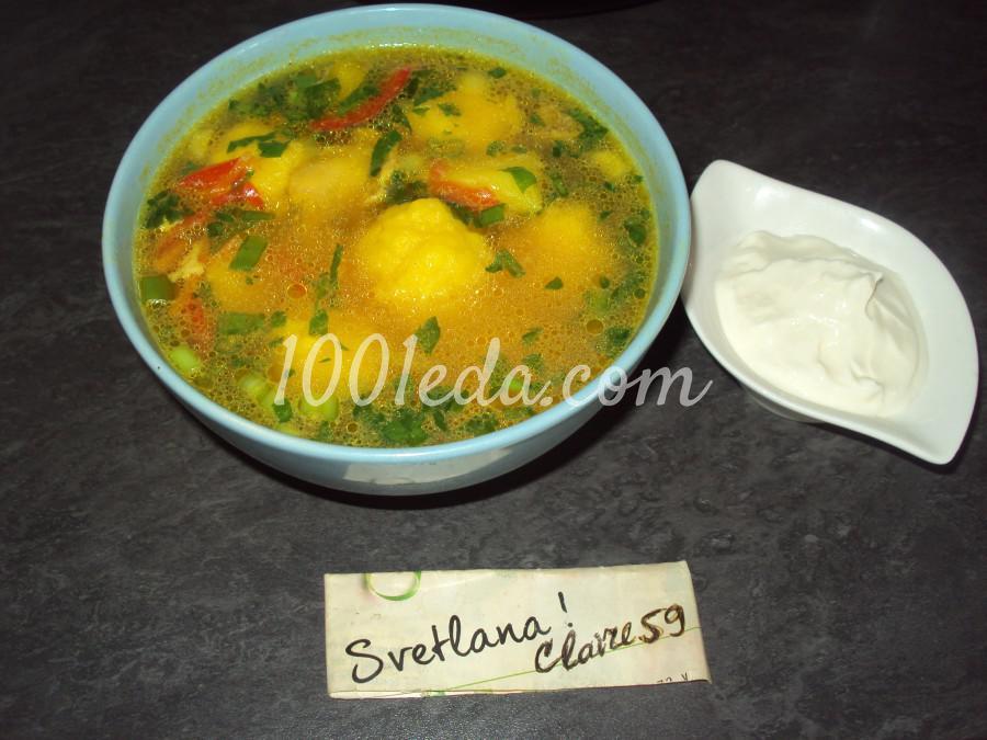 Суп куриный с овощами и шариками из сыра