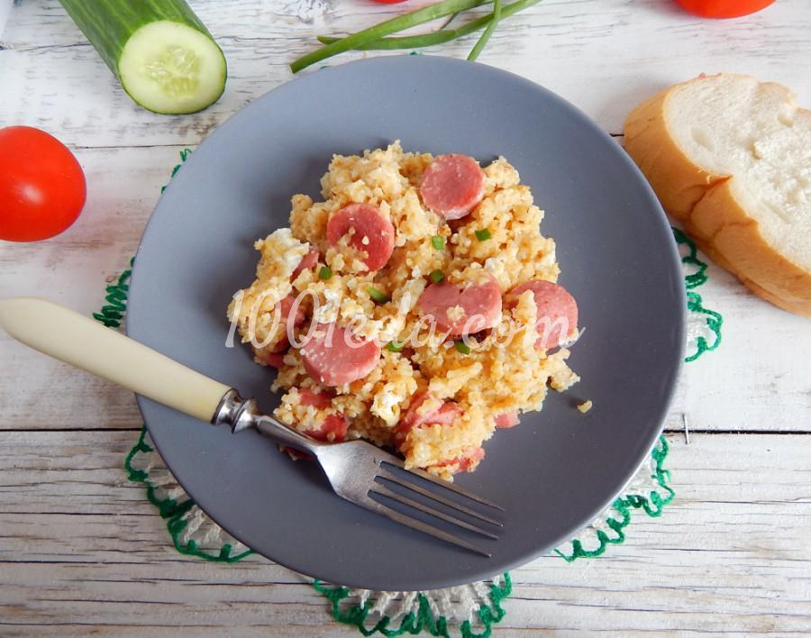 Ячневая каша с сосисками на сковороде: пошаговое фото