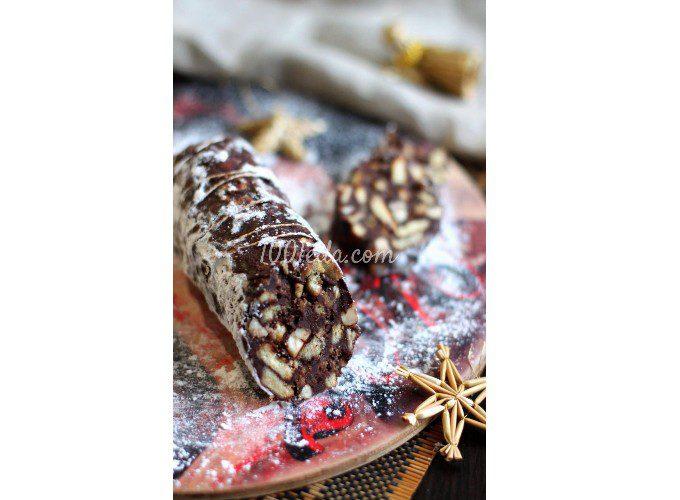 Шоколадная колбаса с ромом и фундуком