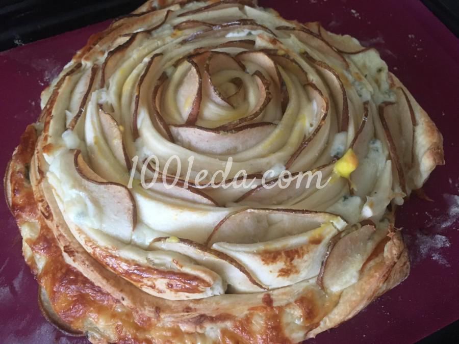 Пирог-роза с грушей и сыром: пошаговый с фото