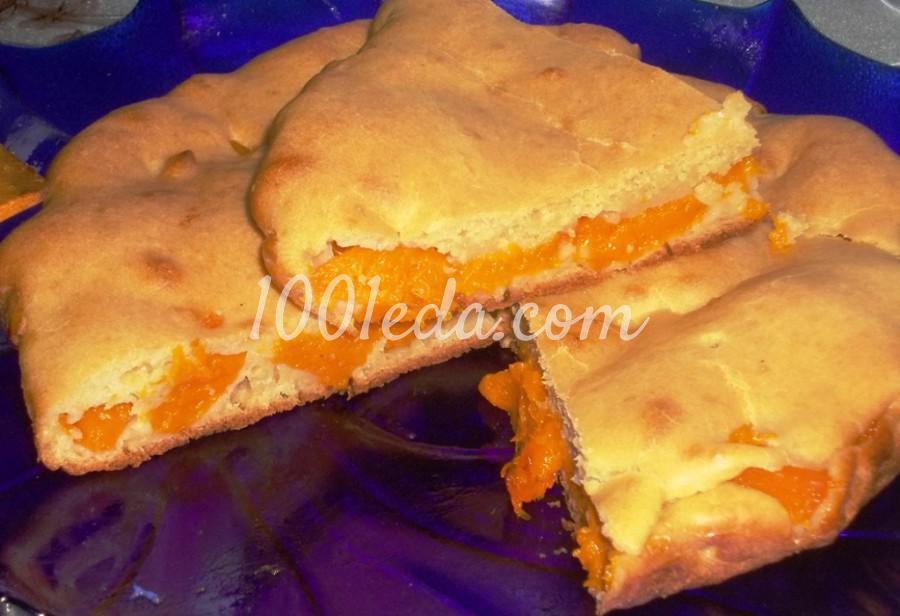 Пирог с тыквой из заливного теста на кефире: пошаговое фото