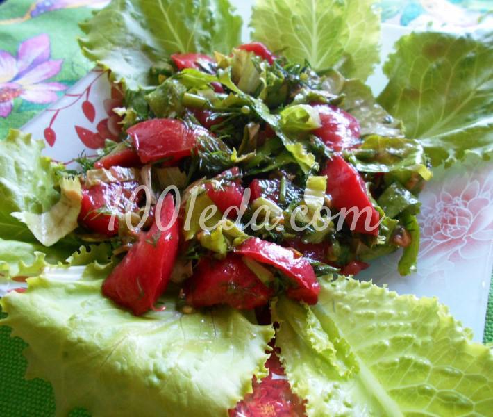 Салат из любимых травок с заливкой: пошаговое фото