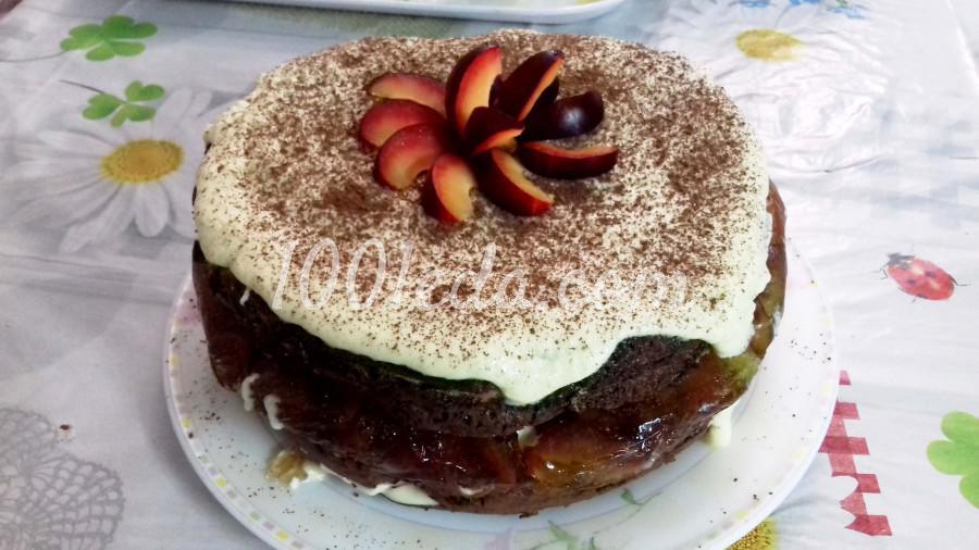 Мраморный бисквит с фруктами в мультиварке