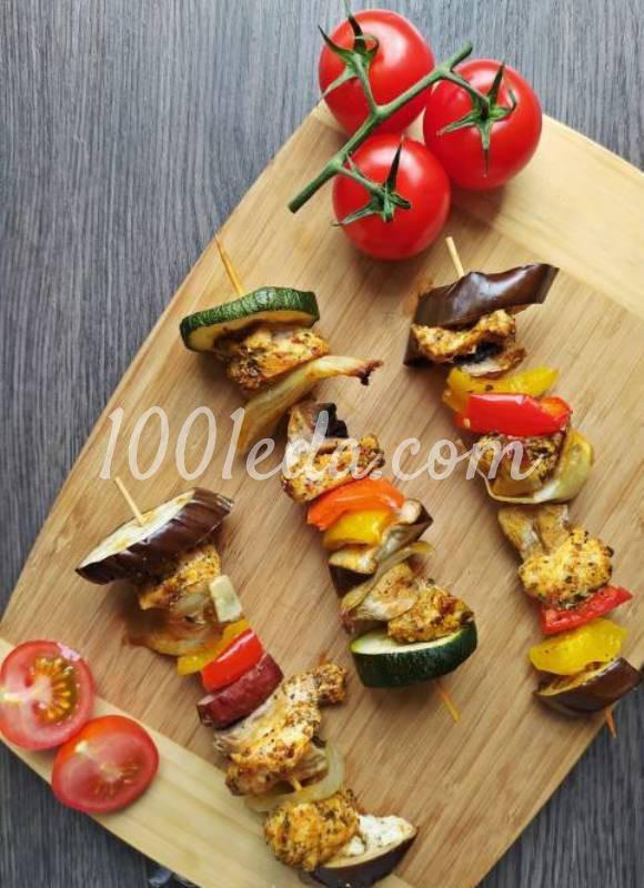 Шашлык с курицей и овощами в духовке