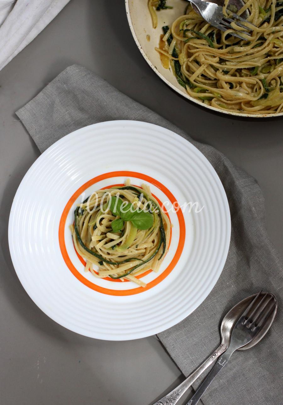 Баветте с цукини и шпинатом в сливочном соусе